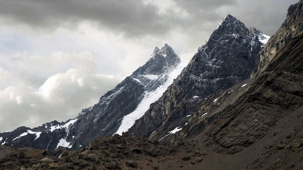 Snow dusted peaks of the Andes mountain range in Argentina