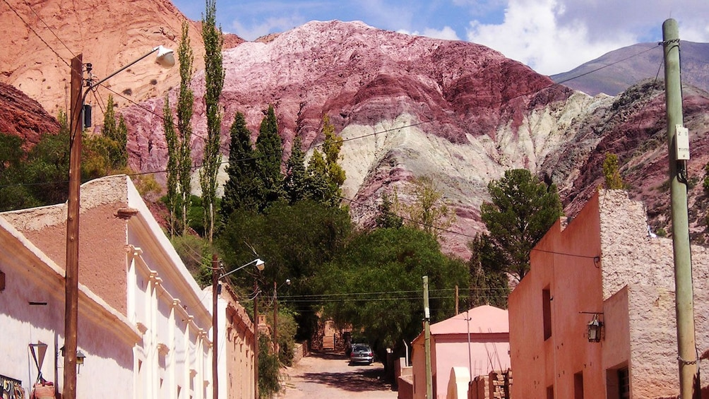 Town of Quebrada de Humahuaca with the colorful hills in the background
