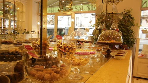 A variety of chocolates and candies from a store in France