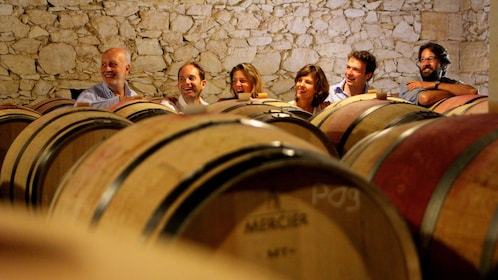 People in a wine cellar of a Vineyard in France