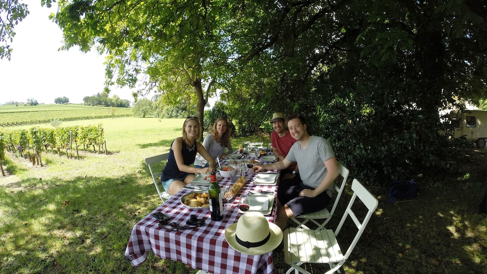 Foto 4 von 5 laden A group of people sitting down for a picnic at a vineyard in  Saint Emilion