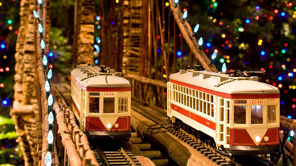 Two model trolley cars at New York Botanical Garden
