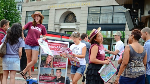 Harvard University tour guides with group in Boston