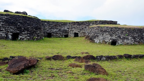 Gorgeous view of Rock buildings on Easter Island