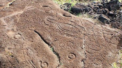 Petroglyphs on rocks on Easter Island