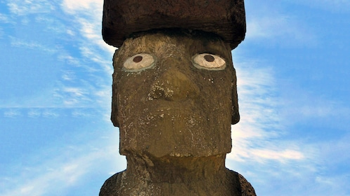 Close view of statue at the Tahai Ceremonial Complex on Easter Island