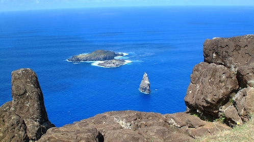 View from cliff of small island around Easter Island