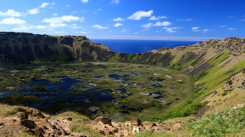 Remains of ancient volcano on Easter Island