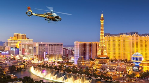 Helicopter flying above The Strip in Las Vegas