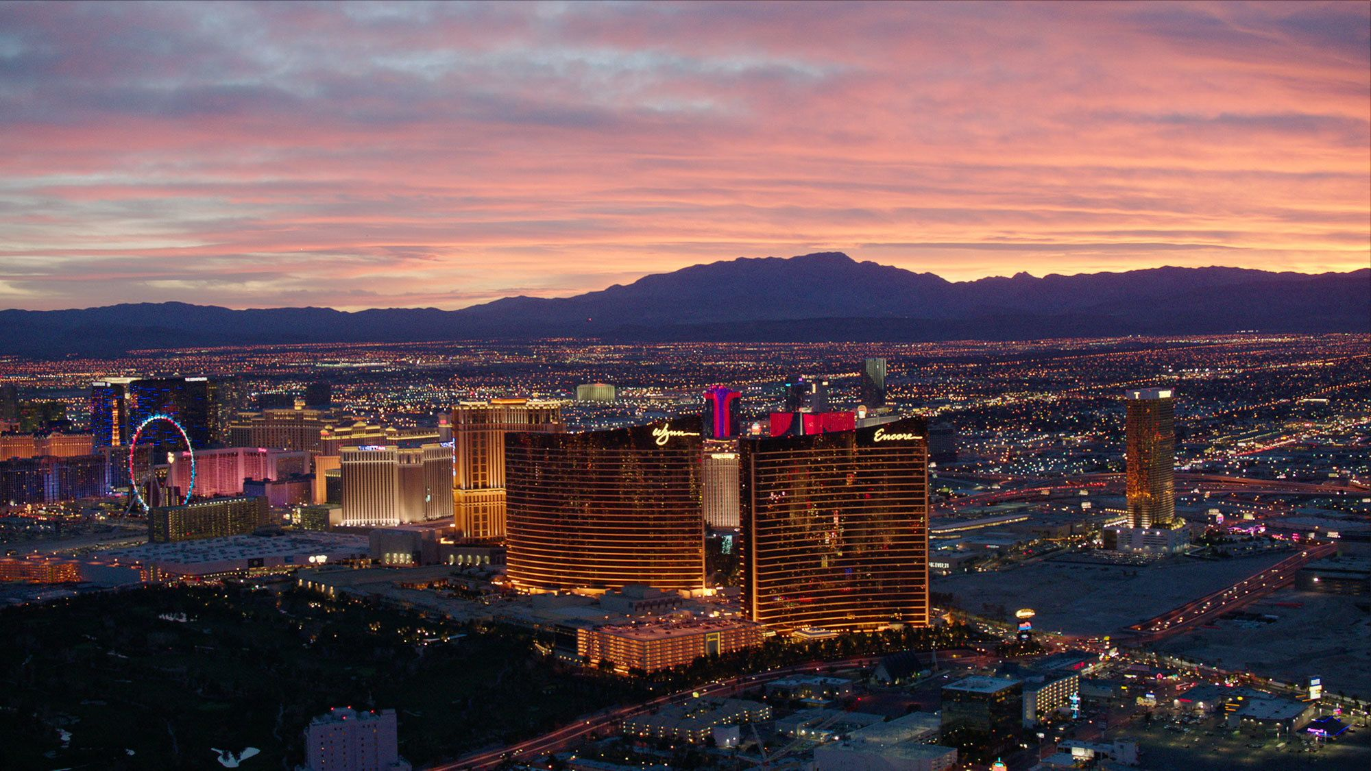 Landscape view of an evening in Las Vegas