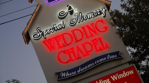 Closeup photo of the wedding chapel's street sign