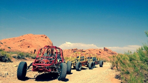 Dune buggies parked in the beautiful Nevada desert terrain