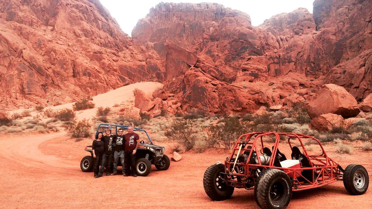 Dune buggies on the desert terrain in Nevada