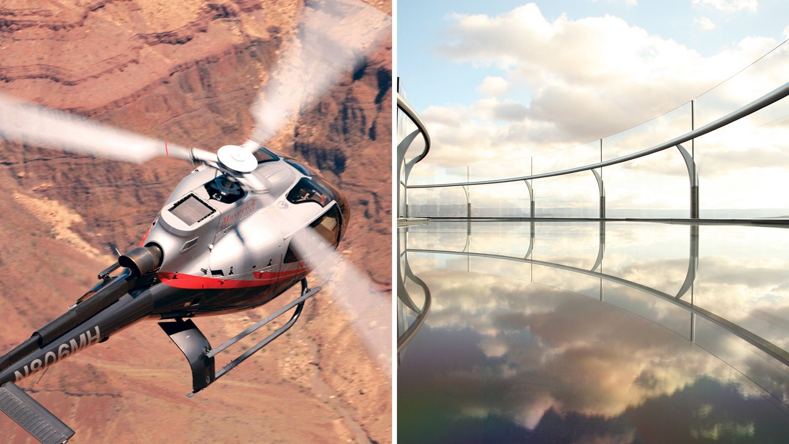 Combo image of helicopter tour and Glass skywalk at Grand Canyon