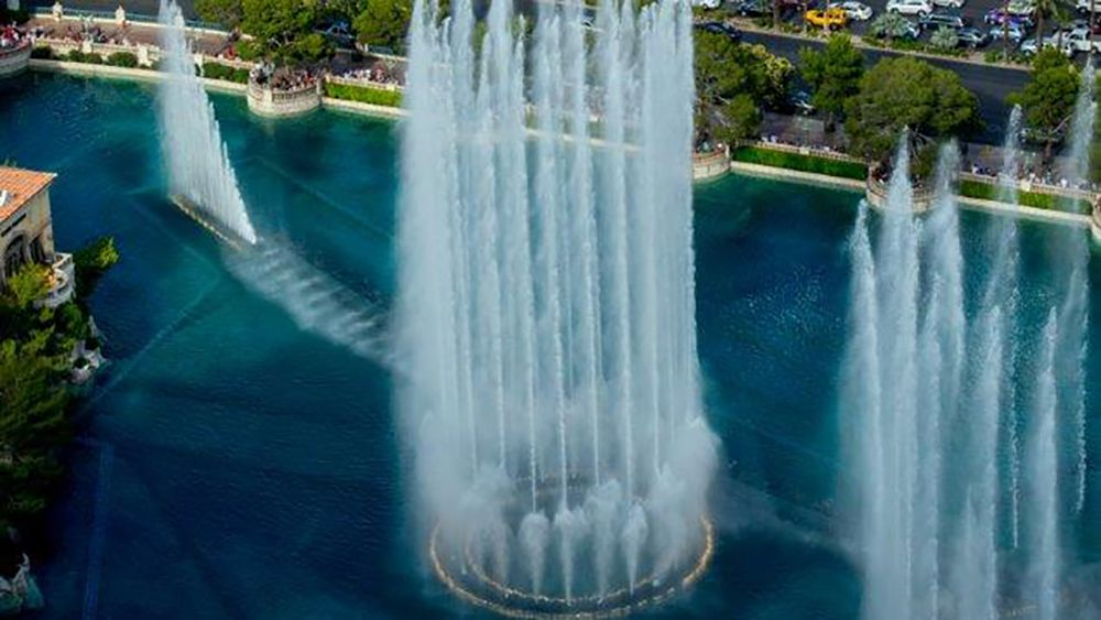 Aerial view of the fountains of the Bellagio