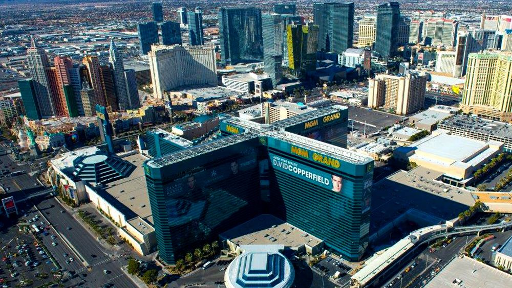 Aerial view of the MGM hotel and Las Vegas strip