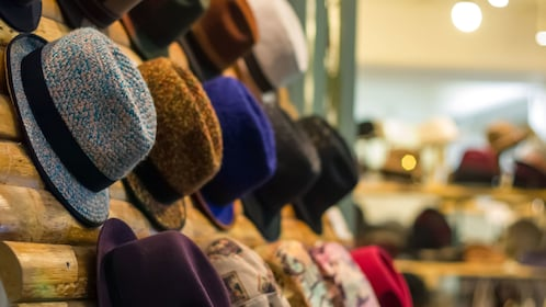 Hats on a rack in Tokyo