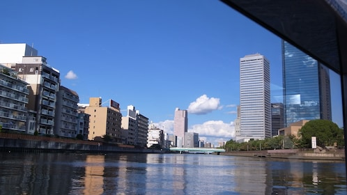 View of the city from the waters in Osaka