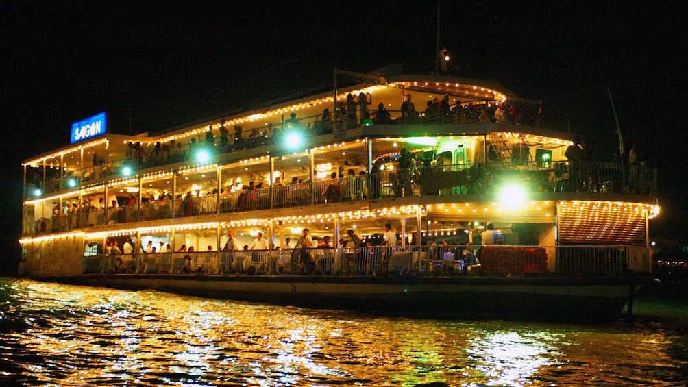 Show item 1 of 9. Panoramic view of the Saigon River Dinner Cruise in Ho Chi Minh City