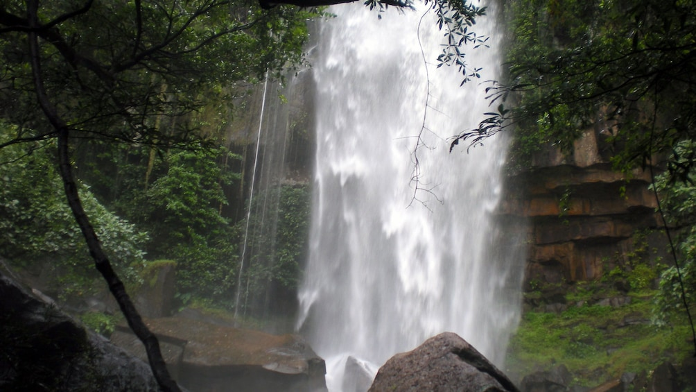Show item 4 of 9. Close view of the rushing waterfalls at Kirirom National Park in Phnom Penh