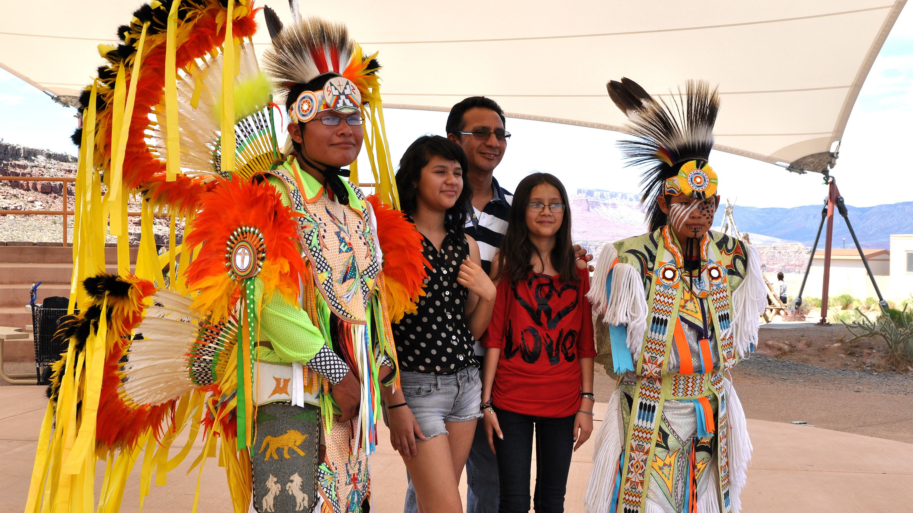 Tourists have a chance to take a photo op with Native Americans at Hualapai Ranch