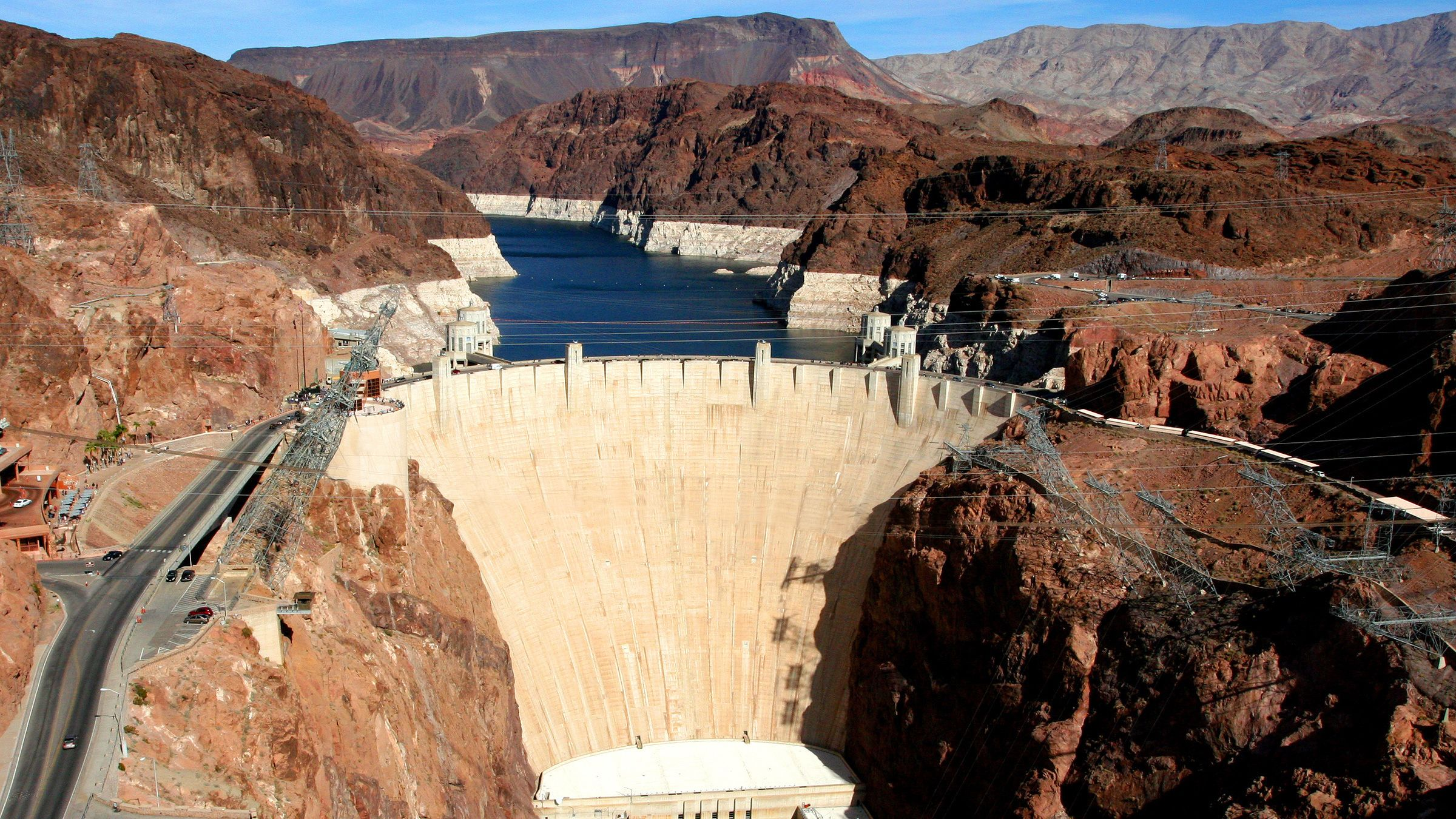 Aerial view of Hoover Dam in the afternoon