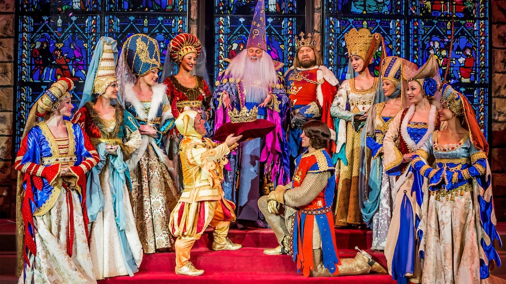 Show item 2 of 6. A new king is crowned at the tournament of kings dinner show at the Excalibur hotel and casino
