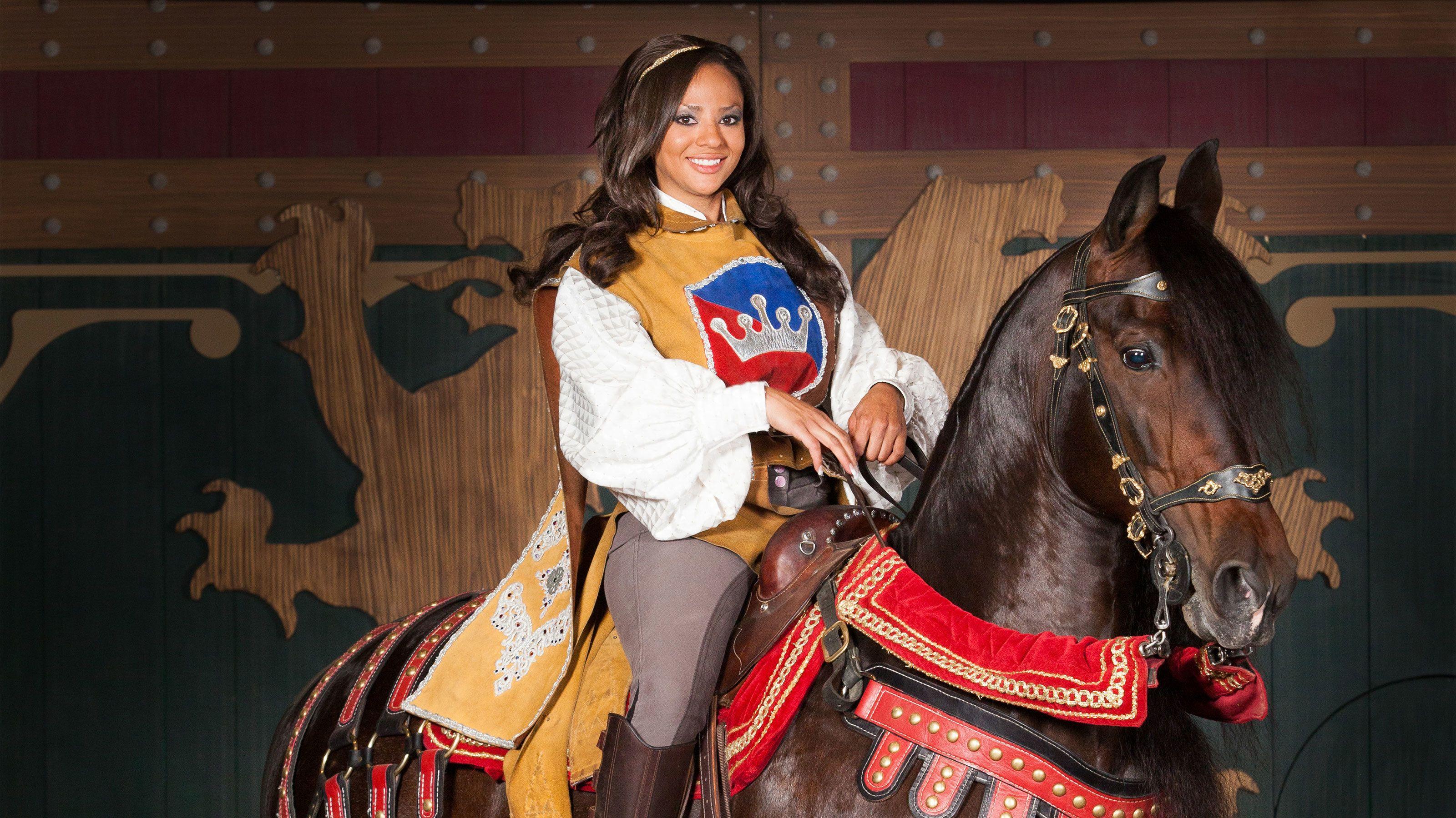 Heroine on horseback at the tournament of kings dinner show in Las Vegas