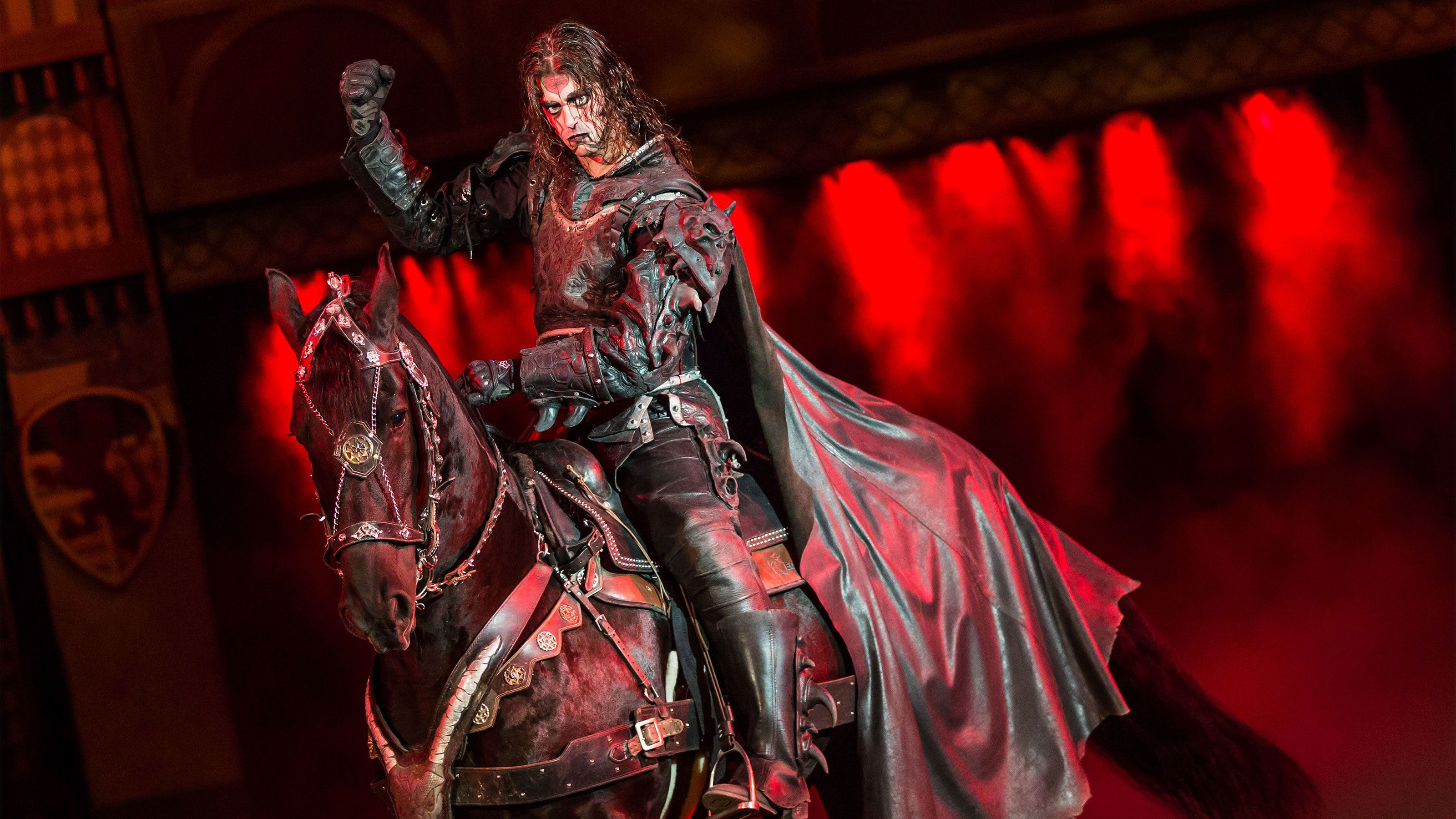 Villanous knight on horseback at the tournament of kings dinner show at the Excalibur hotel