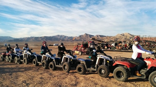Trail of people on atvs in Nevada