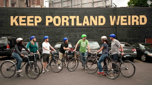 Bicycle riding group in Downtown Portland