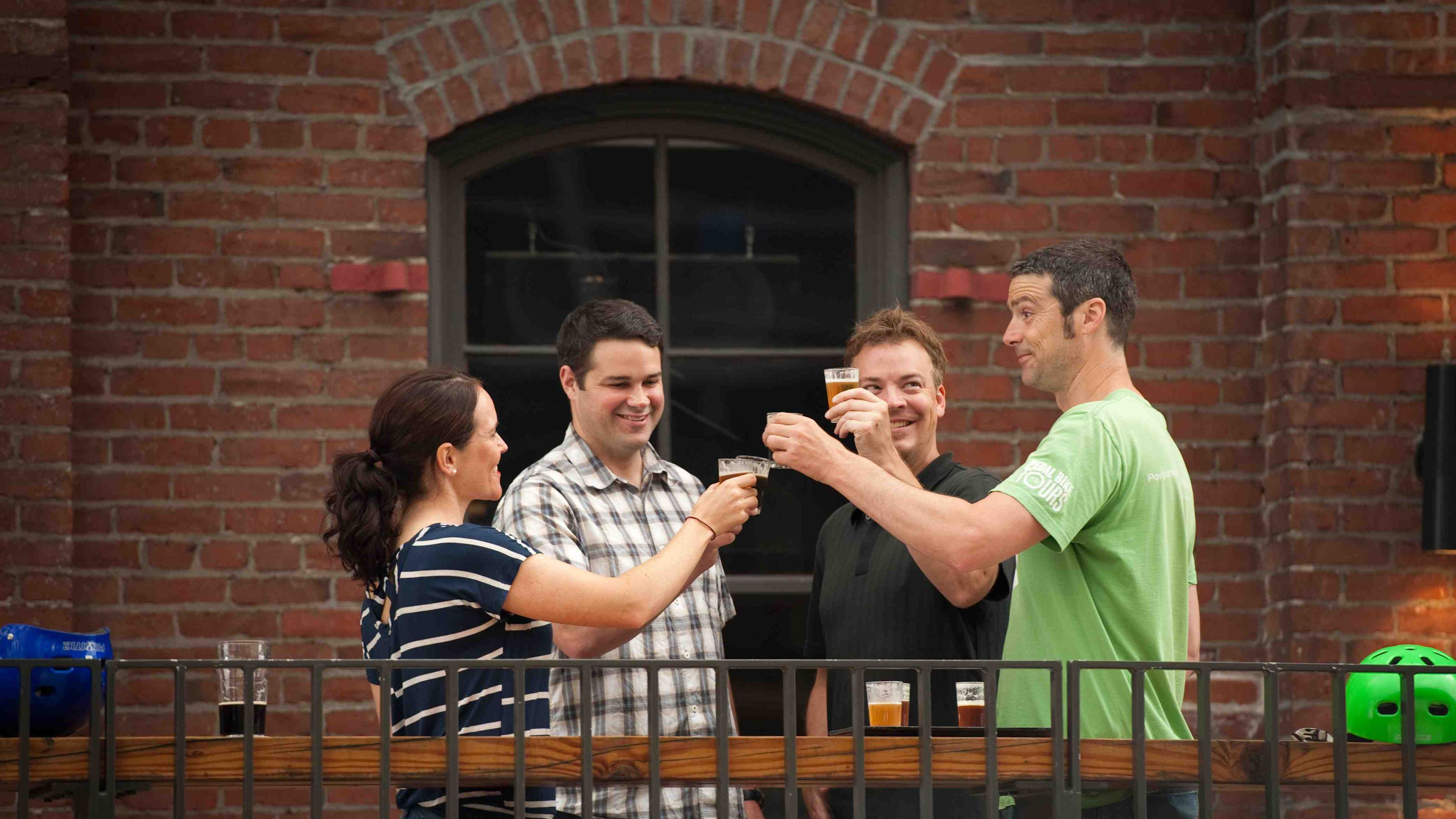 Group of people toasting at a brewery in Oregon