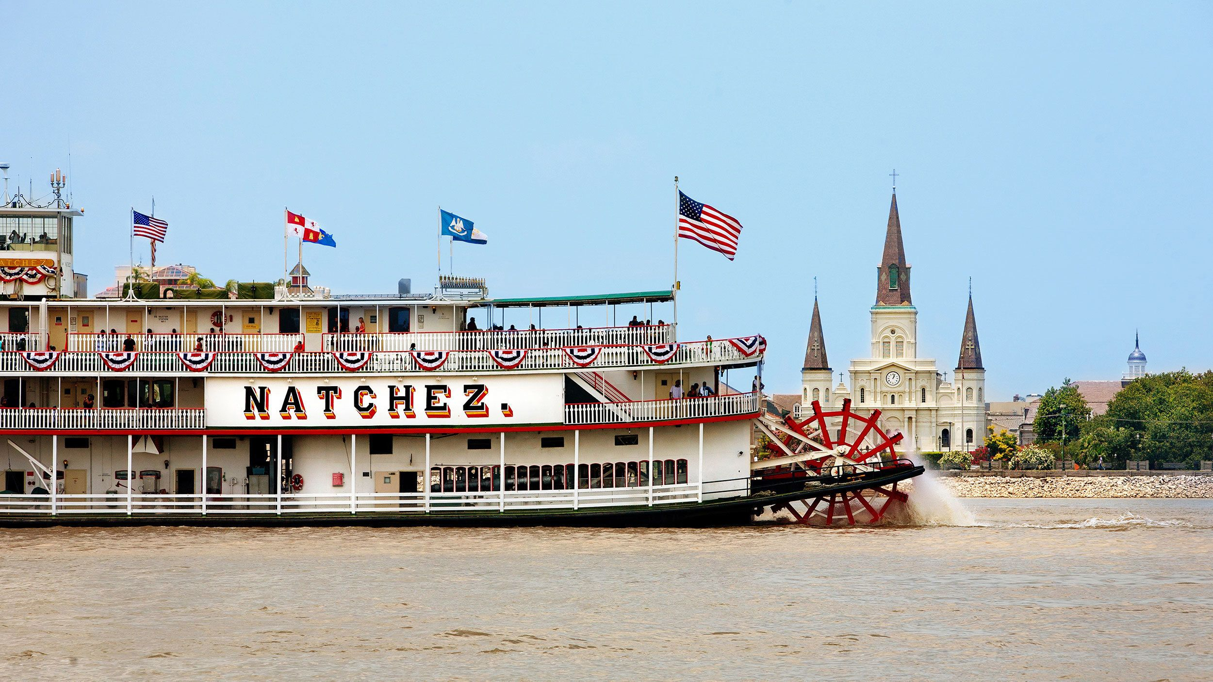 paddle boat on river in New Orleans