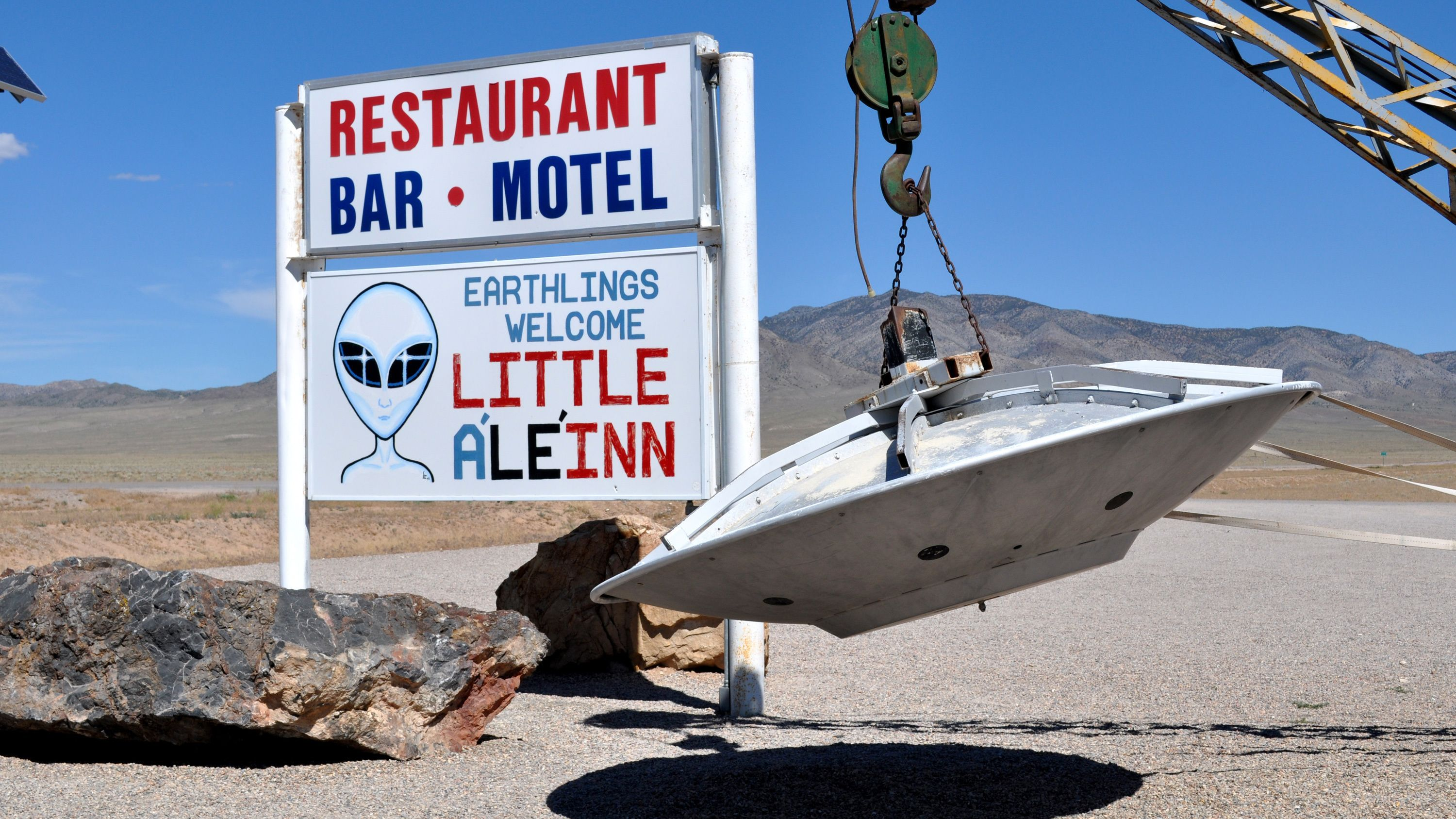 Visit the Little A'le'Inn to discover movie paraphernalia of UFOs