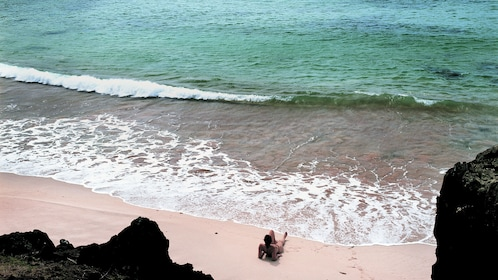 View of the serene waters at Anakena beach