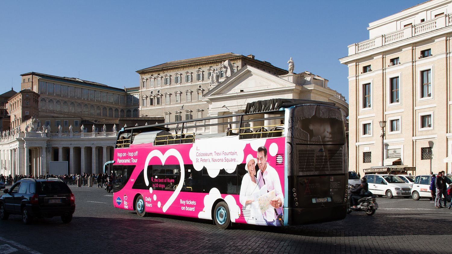 Photo of the tourbus driving through the streets of Rome, Italy.