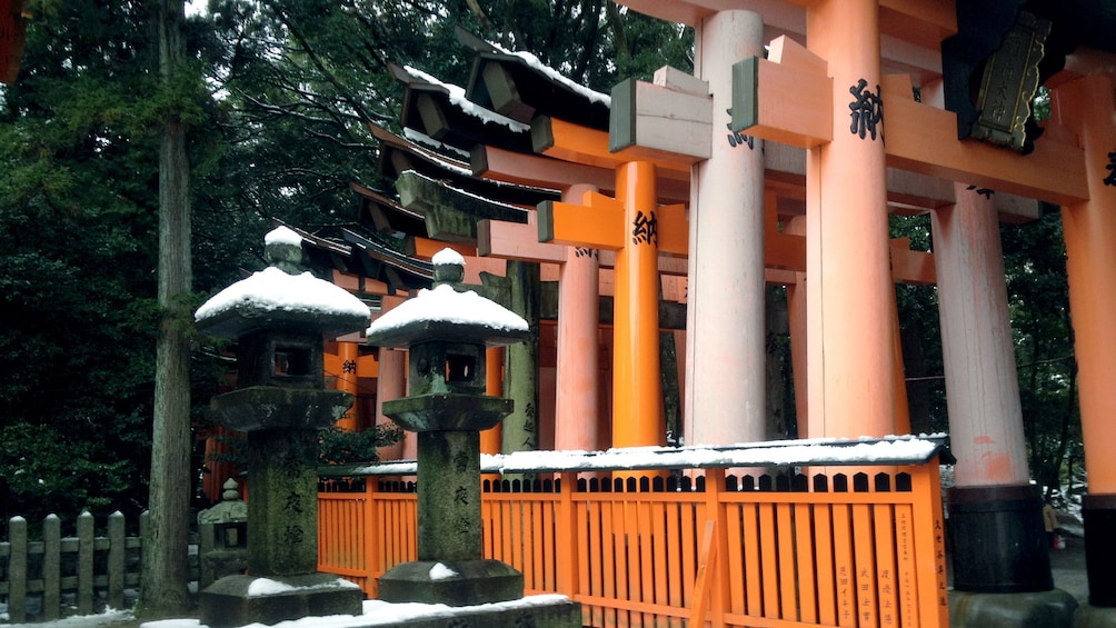 正在顯示第 1 張相片,共 5 張。 Torii gates line the walkway to Fushimi inari shrine in Kyoto