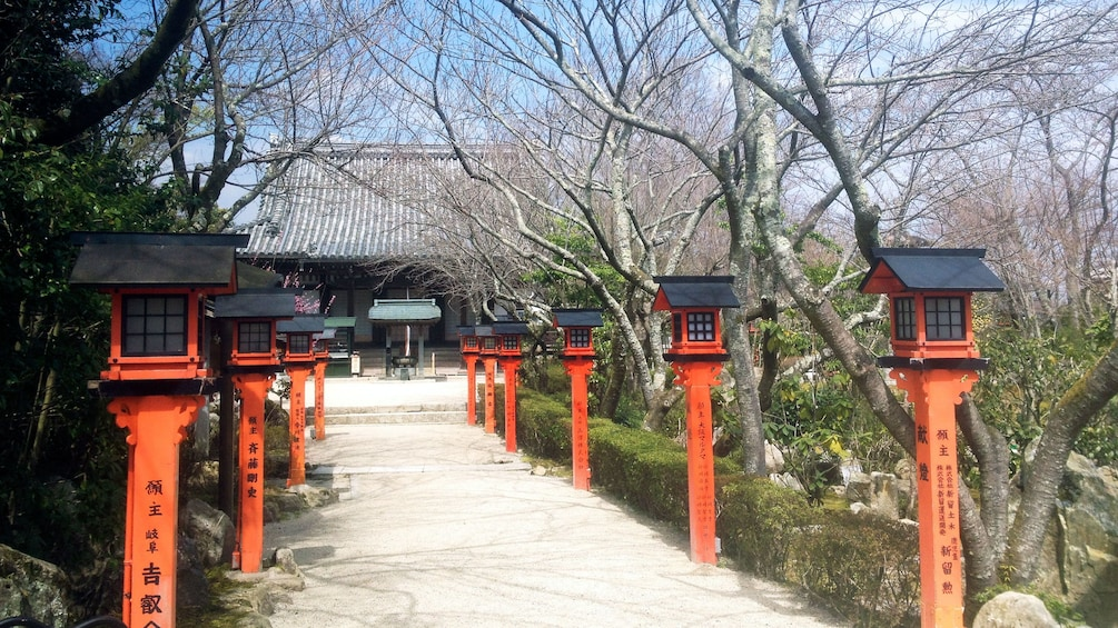Show item 1 of 5. red lantern posts line a walkway to a temple in Kyoto