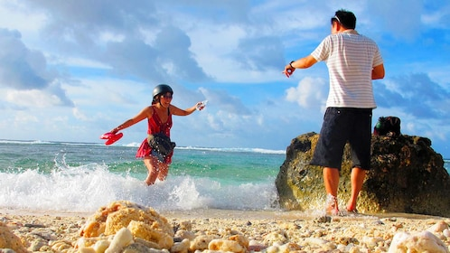 Couple enjoying their time in the waters of the Northern Mariana Islands in Saipan