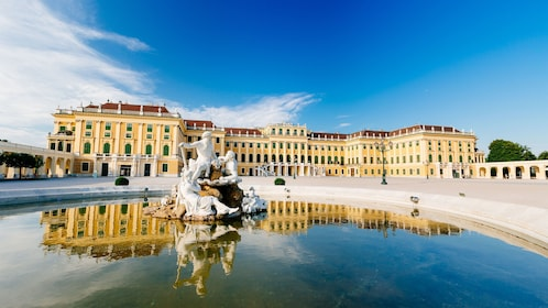 Schonbrunn Palace and courtyard fountain in Vienna
