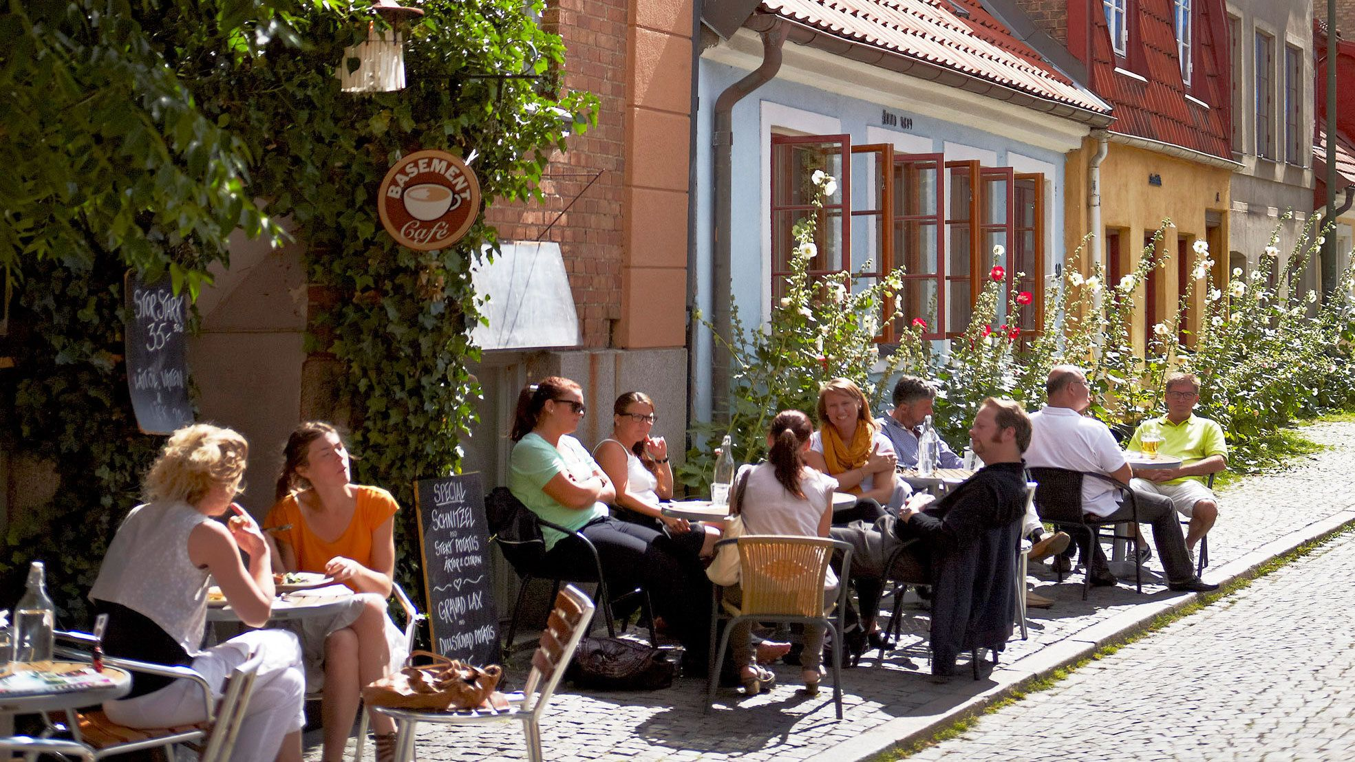 Enjoying lunch at the outdoor seatings in Copenhagen