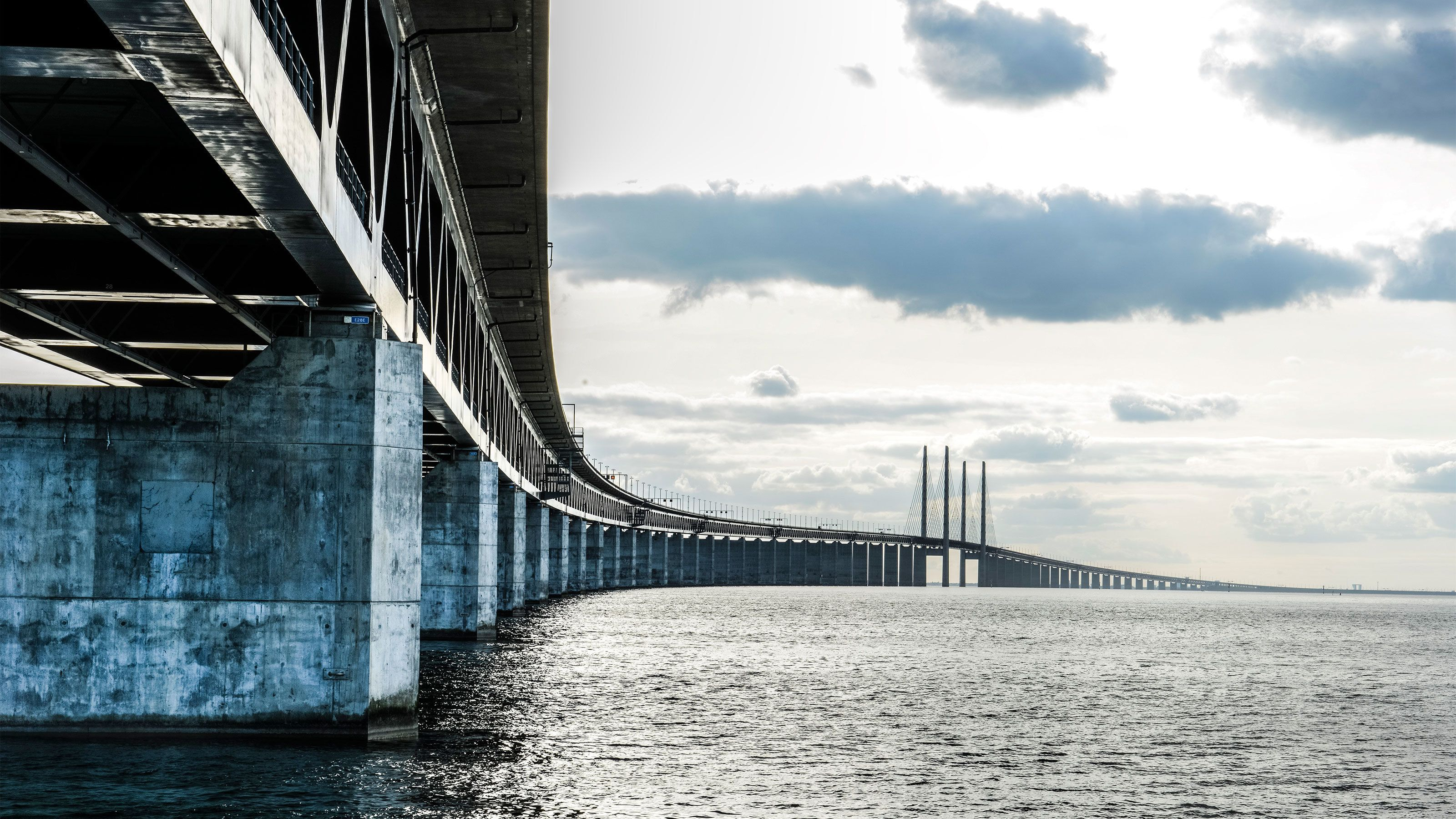 Long bridge above the water in Copenhagen