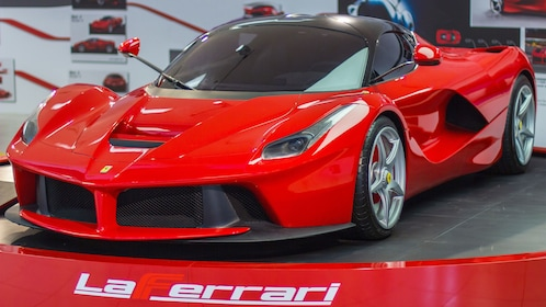 A bright red Ferrari at the factory in Bologna
