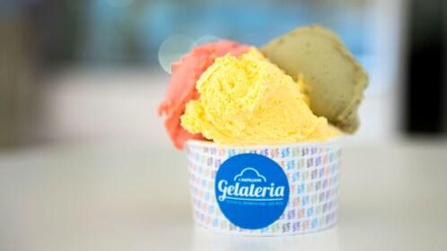 three flavors of gelato in Bologna