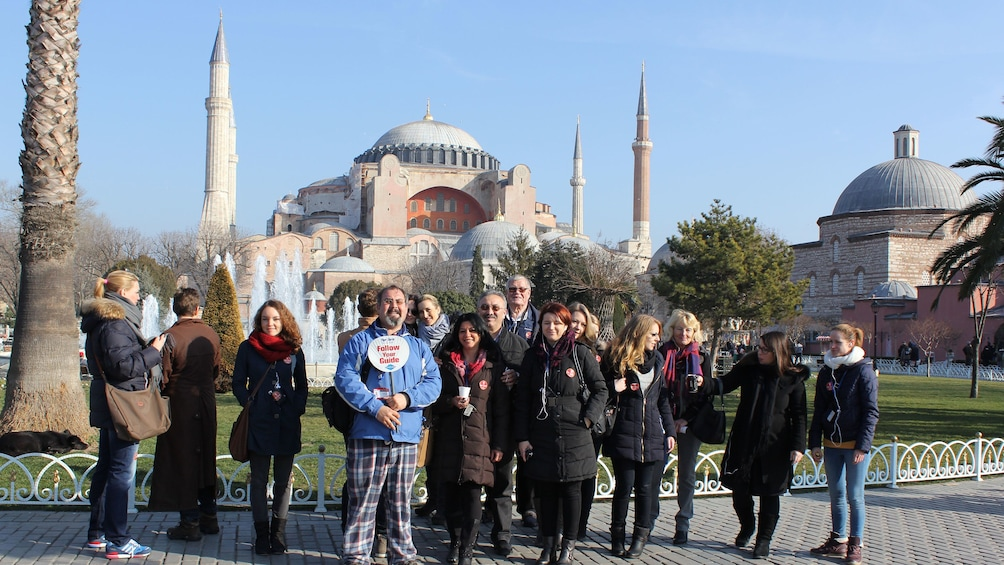 Tourist group standing in front of the Hagia Sophia in Istanbul