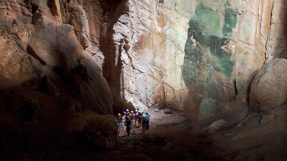 tour group in cave in fiji