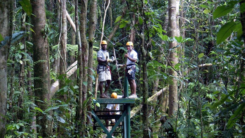 zipliners on strating platform in fiji