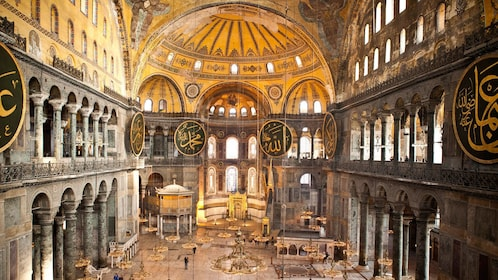 Inside the Hagia Sophia Basilica in Istanbul Turkey