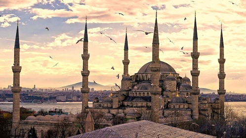 Sunset view of Blue Mosque in Turkey