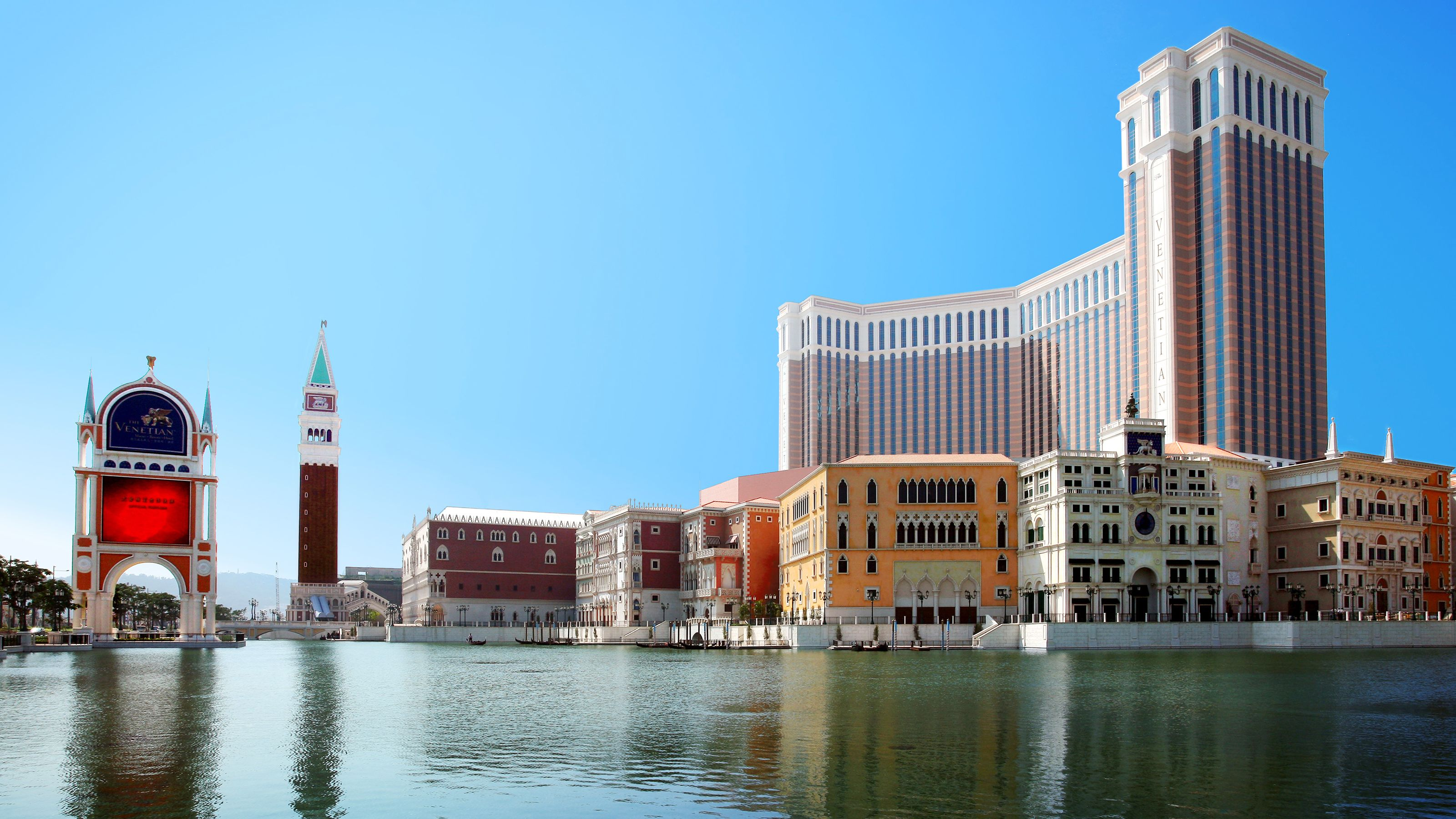 View of hotels on the Macau skyline from the water